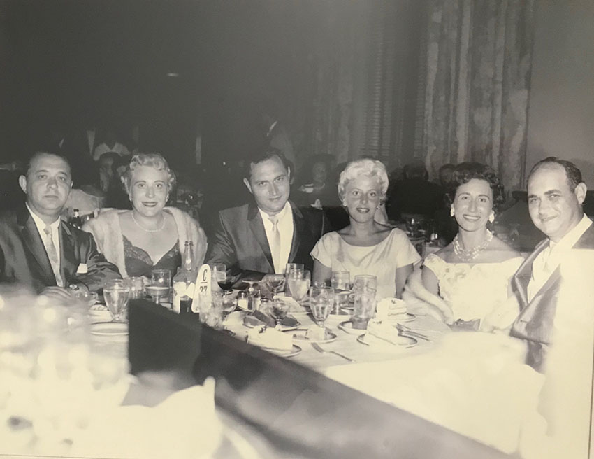 (from left) Leon, Jean, Jerome, Geraldine, Nanny, Papa out to dinner.