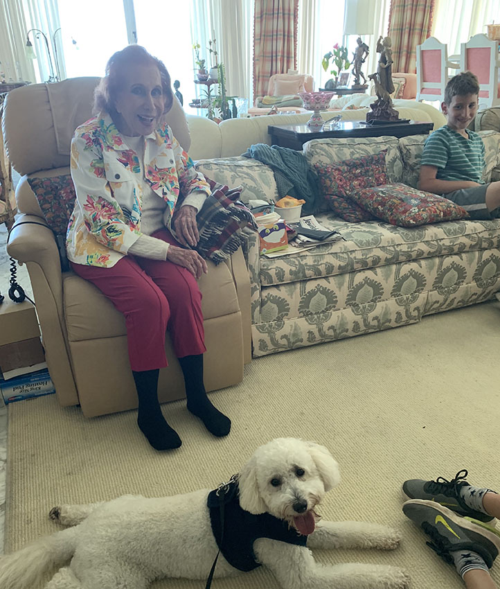 Nanny, Daniel, and Lazer (our dog) in Bal Harbour, Florida, 2019