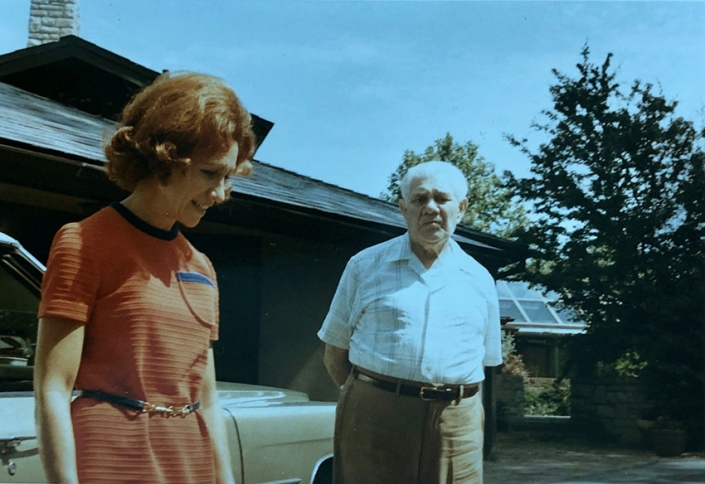 Nanny and her father Sam Freedberg outside her Columbus home