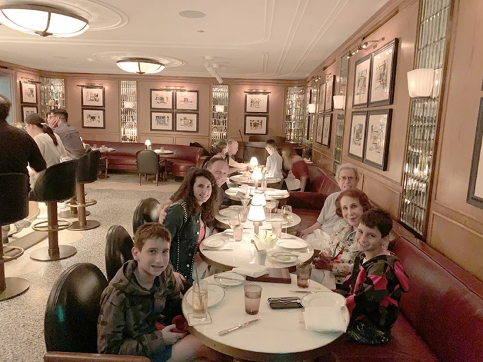 Dinner in Miami with Nanny, Dad, and kids, 2019