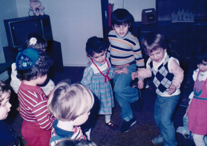 Me (center) dancing with my cousins (Evan in blue yarmulka) at my mom's apartment after divorce, 1984
