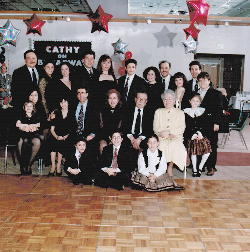 Schottenstein family at my Bat Mitzvah- Evan and Avi front center on floor in front of Nanny, 1995
