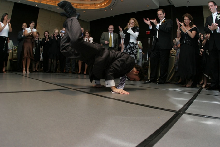 My cousin Avi breakdancing at my wedding in NYC, 2006