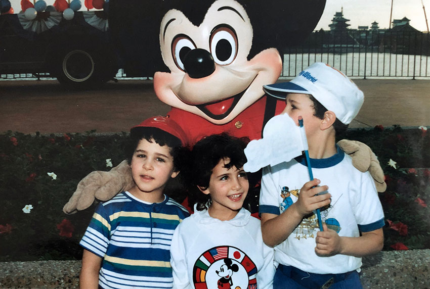 My cousin Evan, me, and Isaac (from left) in Disney World, 1987