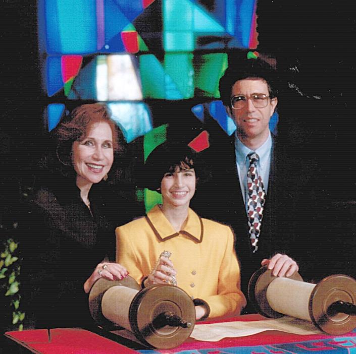 Nanny, Dad, and me at my Bat Mitzvah, 1995