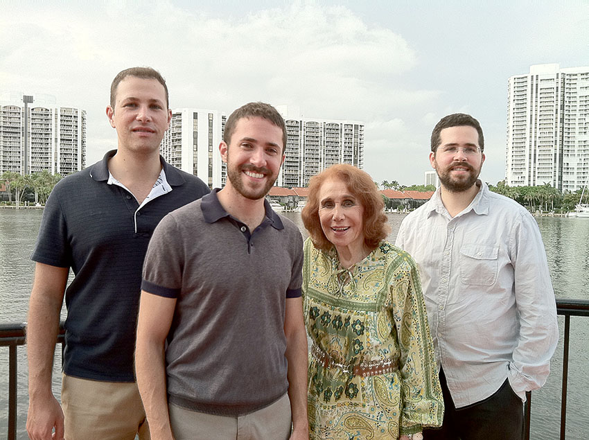 Nanny and her grandsons Isaac, Avi, and Evan (from left) in Bal Harbour, Florida