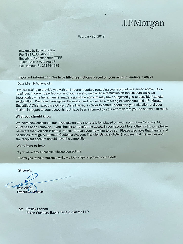 Letter to Nanny from Ivan Alfaro (Evan and Avi's former boss) agreeing to allow her to transfer her funds out of J.P. Morgan after unfreezing her account, February 26, 2019