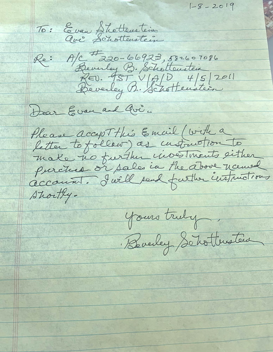 Nanny's handwritten cease and desist letter to Evan and Avi at J.P. Morgan, January 8, 2019