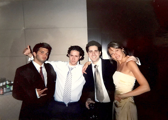 Nate, Avi, Evan, and my Maid of Honor Lauren (from left)—the first year Evan took over my grandma's account, 2006